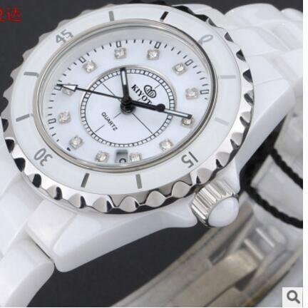 CW012 En Céramique bracelet montre Noir en céramique blanc en céramique, carré pierre