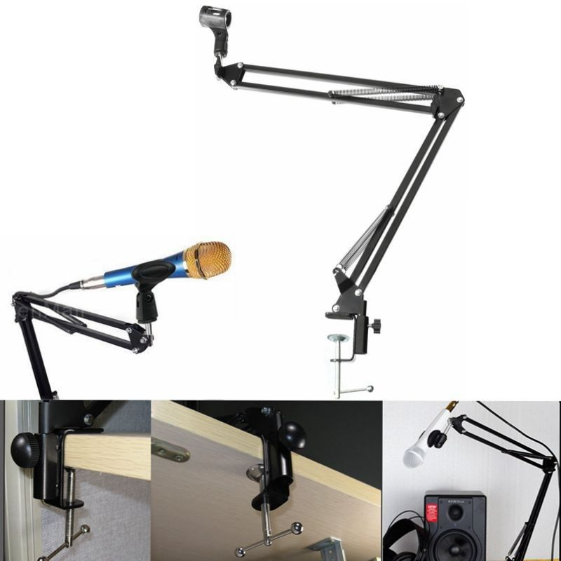 New Recording Microphone Holder Stand Clip Mic Adjustable Suspension Boom Table Bracket With Shock Holder <font><b>Mount</b></font> For Micrphones