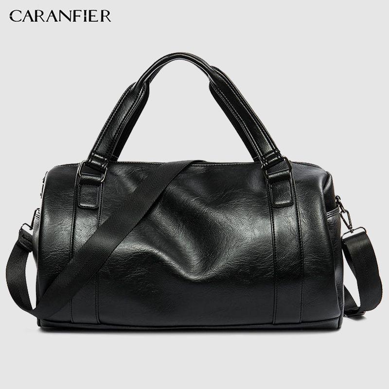 CARANFIER Mens Top PU Leather Handbags Travel Bags Classic Workout Shoulder Handbag Male Bag Men Sports Bags Gym Crossbody Packs