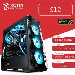 Kotin S12 RGB Light Desktop High End Gaming PC Computer i7 8700 RTX2070 Corsair 650W PSU 16GB RAM Intel Optane 16GB SSD 1TB HDD