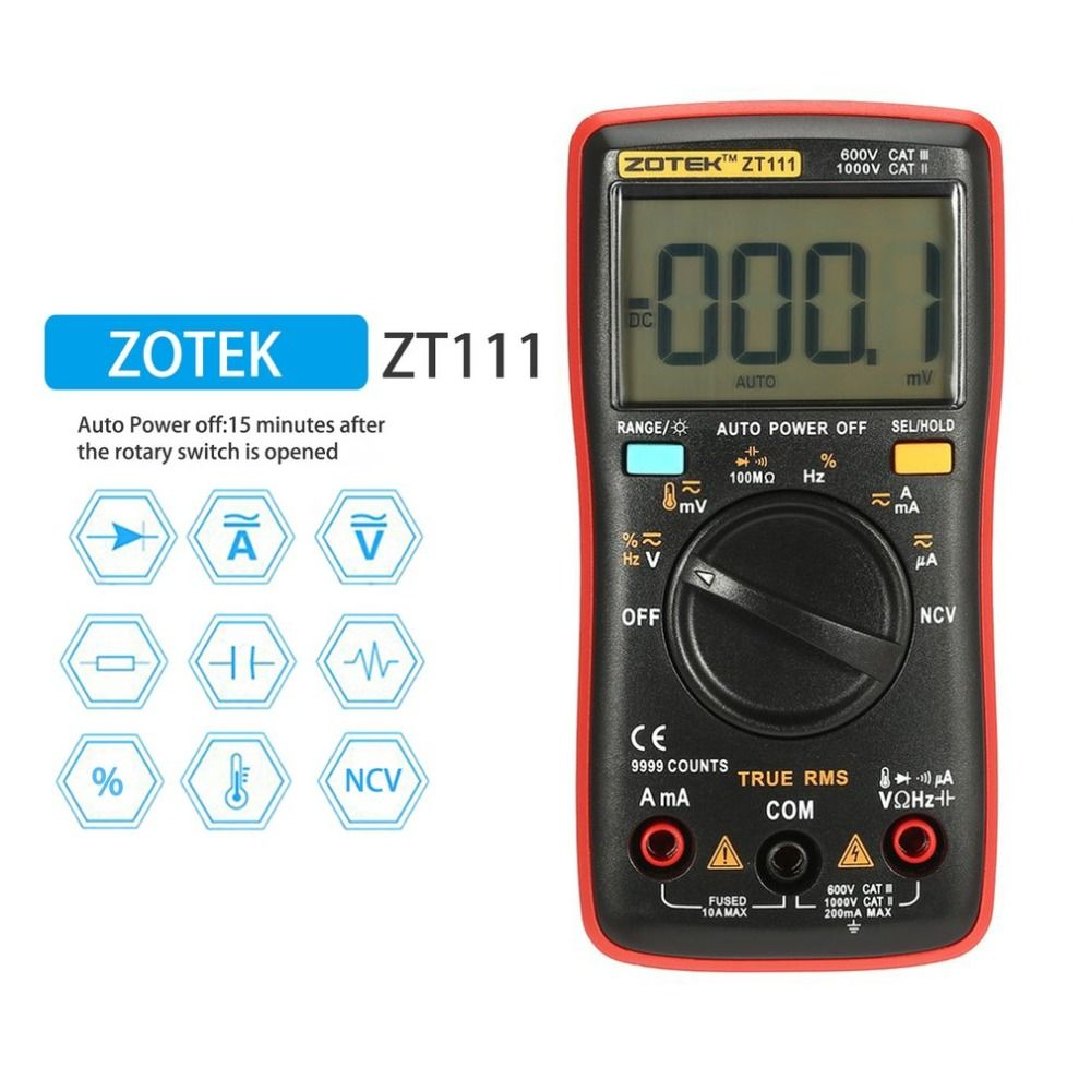 Digital Multimeter ZT111 Multimetro Transistor Tester Digital Mastech uni esr t AC/DC Voltag RMS Clamp Meter Multimetre 111
