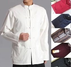Hommes Chinois Traditionnel Tang costume Veste Wu Shu Tai Chi vêtements shaolin kung fu wing chun chemise Manches Longues Exercices costume