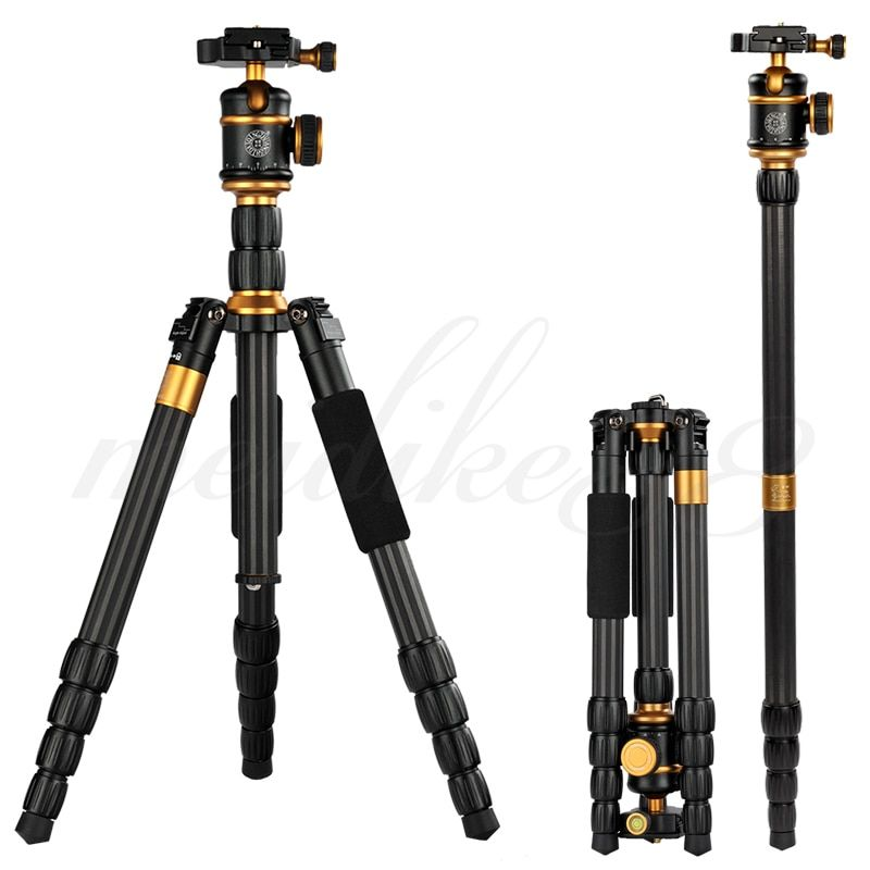 Portable Travel 888C Light Weight Professional Carbon Fiber Camera Tripod Monopod With Ball Head For DSLR SLR DHL Free shipping
