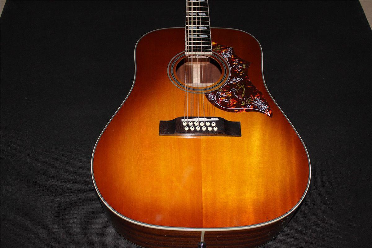 Freies verschiffen 12-String Dreadnought Akustische-Elektrische Gitarre tabak burst einem stück holz neck 12 saiten gitarre