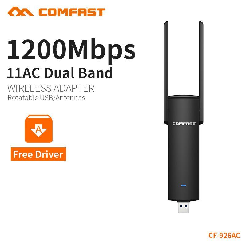 COMFAST usb wifi adaptateur 1200 mbps wifi Double Bande dongle ordinateur AC Carte Réseau USB 3.0 antenne 802.11ac/b /g/n 2.4 ghz + 5.8 ghz