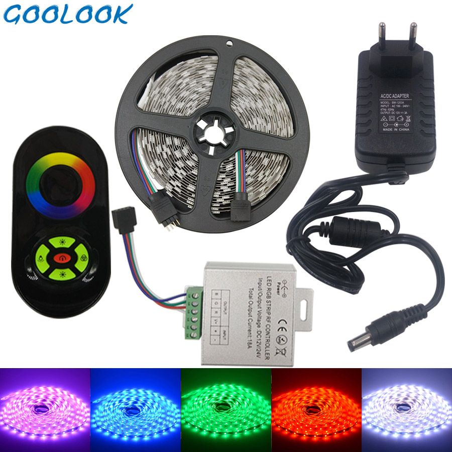 LED Strip Light RGB 5050 SMD Waterproof RGB LED Tape Light emitting diode Lamp  Ribbon LED Flexible Strip 12v RGB Strip Full Set