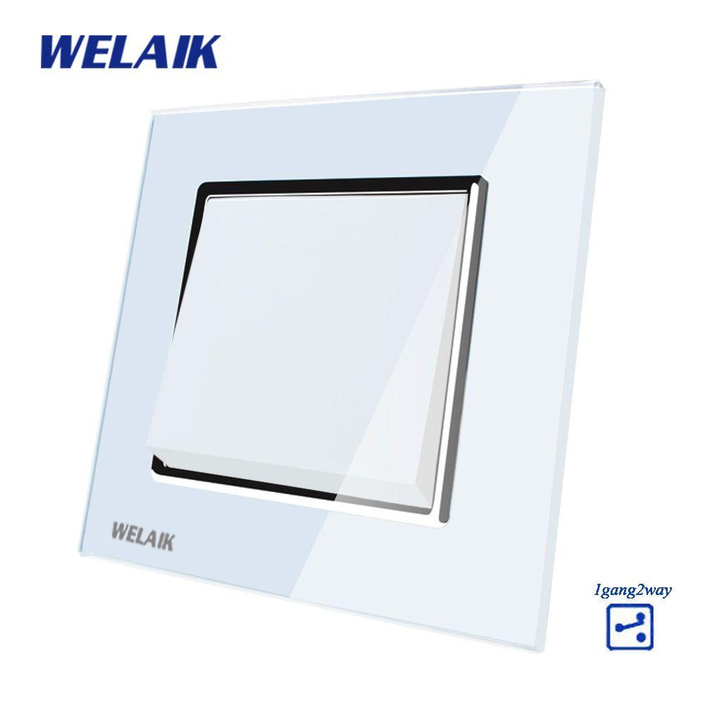 WELAIK Push Bouton 1Gang2Way Fabricant de Commutateur de Mur Interrupteur Noir Panneau Verre Cristal Blanc AC 110-250 v a1712W/B