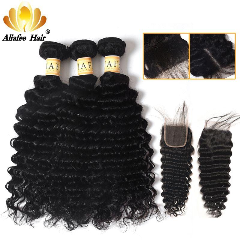 AliAfee paquets de vague profonde brésilienne avec fermeture 100% Extension de cheveux humains 3 paquets traiter Non Remy
