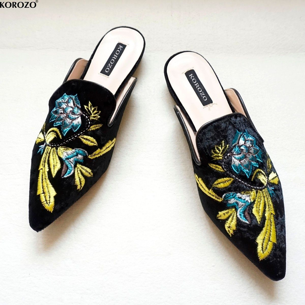 2018 Women Embroidery Velet Mules Slides Chiara Ferragni Dress Slipper 1.5cm Heel Flip Flops Slipony Slip On Sandals Shoes
