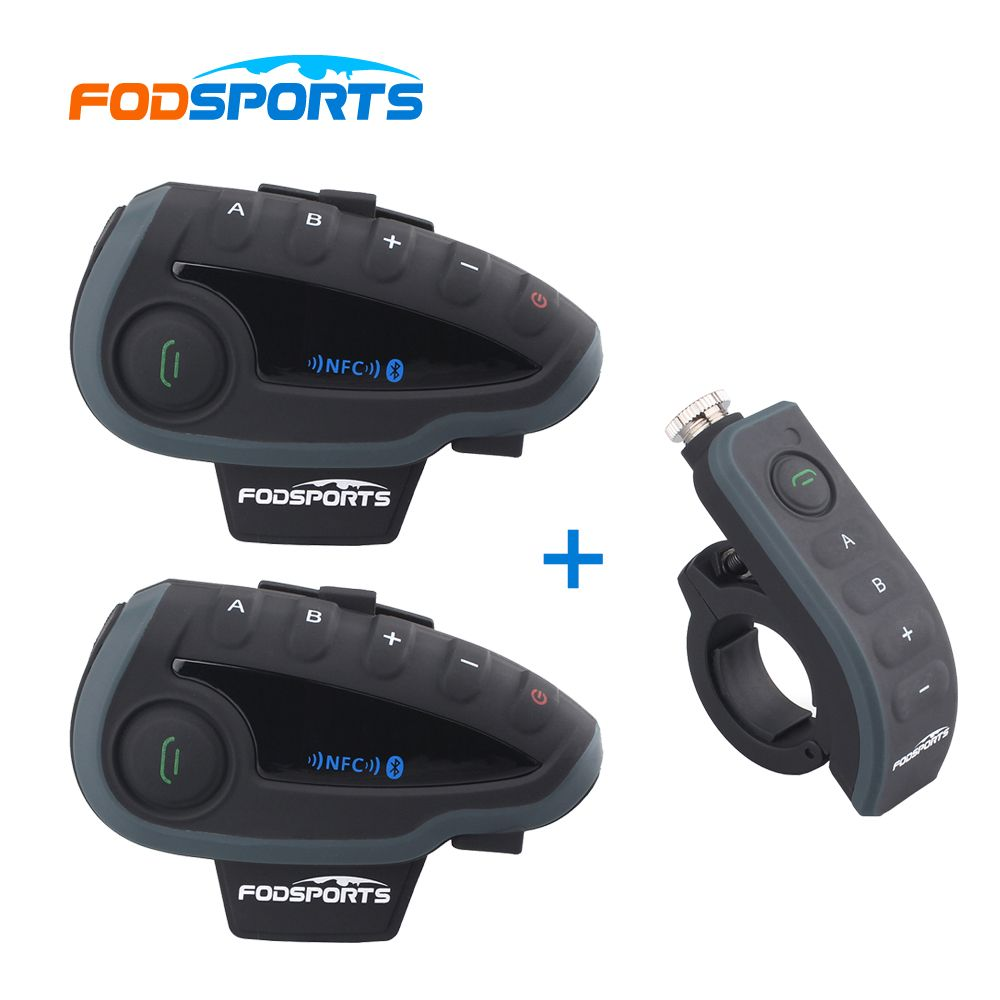 2 pcs Fodsports V8 Intercom Host+1 Remote Controller,motorcycle bluetooth intercom headset with NFC FM support 5 riders talking