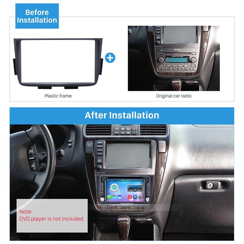 Seicane Schwarz Doppel-din-autoradio-fascia Trim Kit für 2001-2006 ACURA MDX Stereo Dash CD Installation Kit DVD GPS Frame Panel