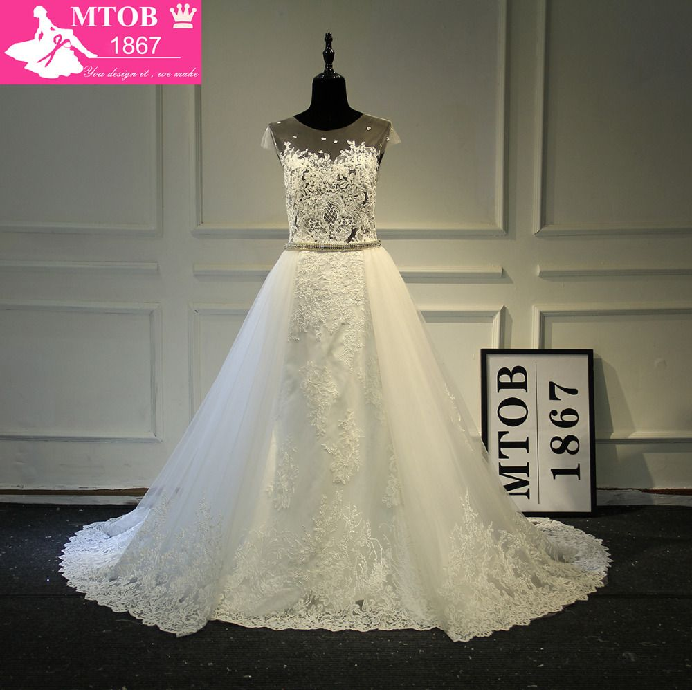 Fashionable Sexy See Through Lace Wedding Dress Removable Beading Sash Detachable Tail Chapel Train Robe De Mariage MTOB1761