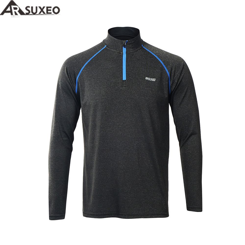 ARSUXEO 2017 männer Laufen T-shirts T Aktive Long Sleeves Quick Dry Training Jersey Sport Kleidung Workout GYM Shirt M17T1