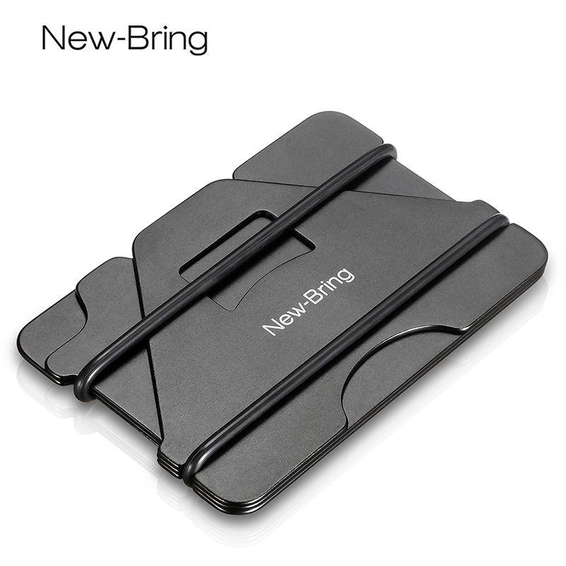 NewBring multi-fonction métal porte-carte de crédit boîte de poche noire cartes de visite ID portefeuille avec RFID Anti-voleur portefeuille hommes