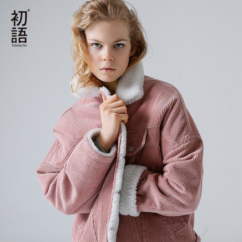 Toyouth Vintage <font><b>Green</b></font> Outerwear Coats Winter Bomber Jacket Women Solid Long Sleeve Jackets Casual Single Breasted Chaqueta Mujer
