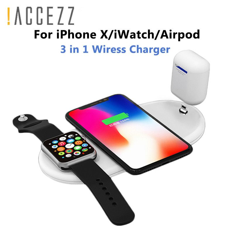 !ACCEZZ 10W 7.5 QI Fast Wireless Charger 3 in 1 For iphone 8 Plus X XS For AirPods For Samsung S7 S8 S9 Universal Phone Chargers