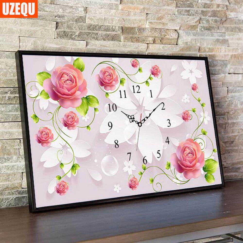 UzeQu Needlework 5D DIY Diamond Painting Cross Stitch Wall Clock Rose Diamond Embroidery Full Diamond Mosaic Rhinestone Picture