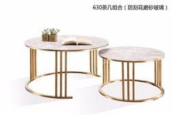 0608CJ630 Granit résistant aux rayures en verre dépoli surface en acier inoxydable cadre combinaison ronde thé table table basse