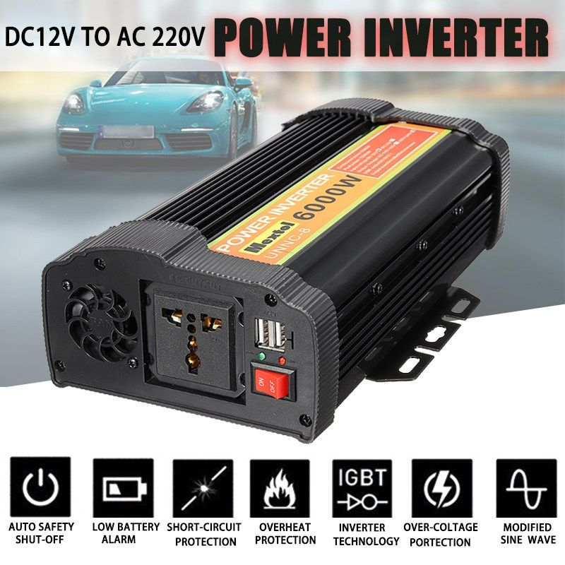Solar Power Car Inverter 12000 Watts Peak 6000W 12 DC To 220V Volt AC USB Modified Sine Wave Auto Charger Converter Transformer
