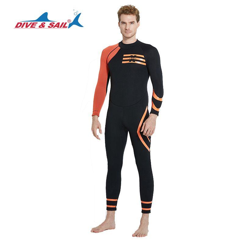 DIVE&SAIL Neoprene 3MM Wetsuit Back Zipper Men Diving Suit One-piece Scuba Dive Snorkeling Water Sports Long Sleeve Surfing