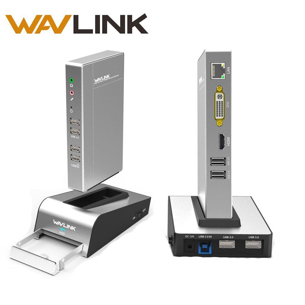 Station d'accueil universelle en aluminium USB 3.0 avec boîtier HDD et SSD double affichage vidéo prise en charge HDMI/VGA/DVI 2048*1152 Gigabit Lan