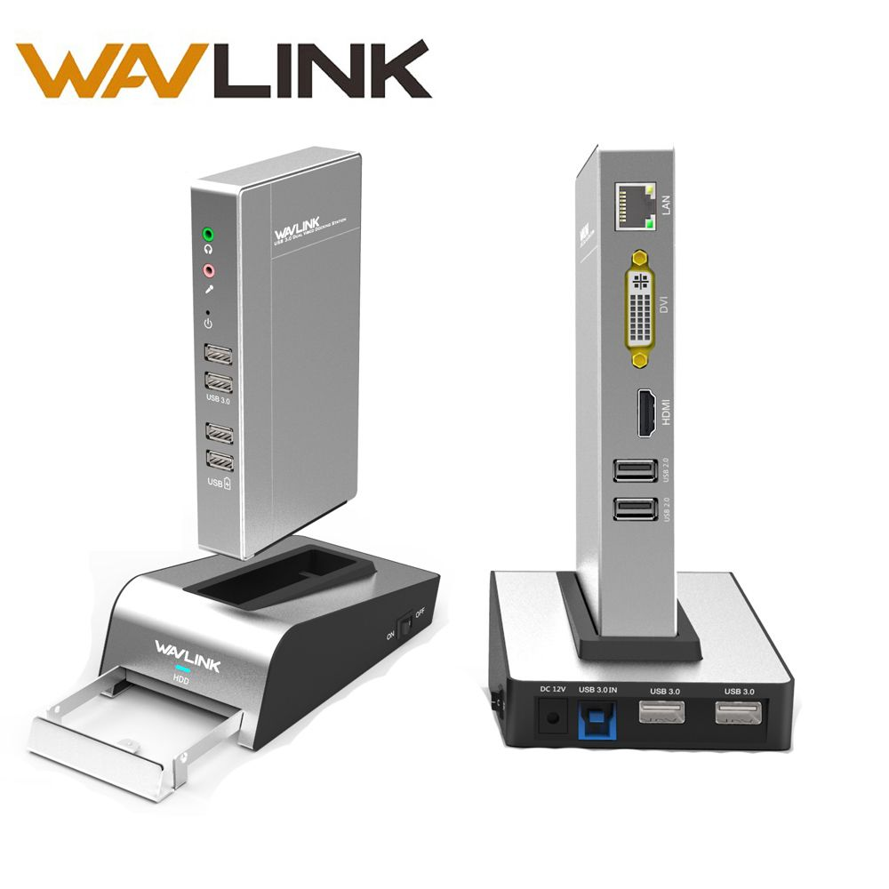 USB 3.0 Aluminium Universal Docking Station mit HDD & SSD Gehäuse Basis Dual Video Monitor Unterstützt HDMI/VGA/DVI bis zu 2048*1152