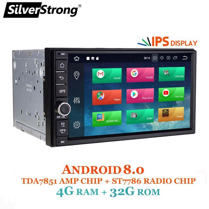 SilverStrong Android8.0-8.1 Car DVD 2Din Universal DSP android IPS panel OctaCore Car GPS 7 inch Car Stereo auto Radio Navi 706