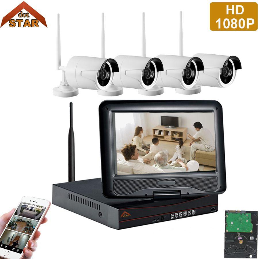 Stardot 4CH Wireless IP Camera Wifi NVR Kit 1080P HD Outdoor IR Night Vision Security Network WIFI CCTV System P2P Plug and Play