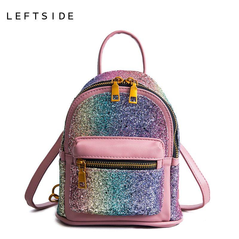 LEFTSIDE Fashion 2018 Sequins PU Leather Women Backpack Children Back Pack Small Backpacks For Girls Ladies Shoulder Bags <font><b>Bling</b></font>