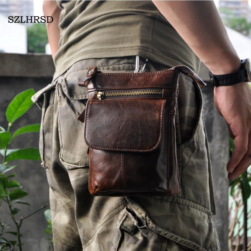 SZLHRSD for Oukitel K6 Retro oil wax Genuine leather 7 inch Universal Outdoor Waist Phone Bag Pouch Case for Oukitel K10