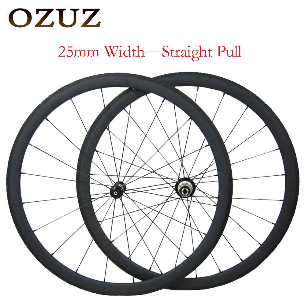 OZUZ 25mm breite gerade pull 38mm 50mm tiefe carbon road räder 3 k matt klammer 700c bike räder 1432 cnspoke steuer enthalten