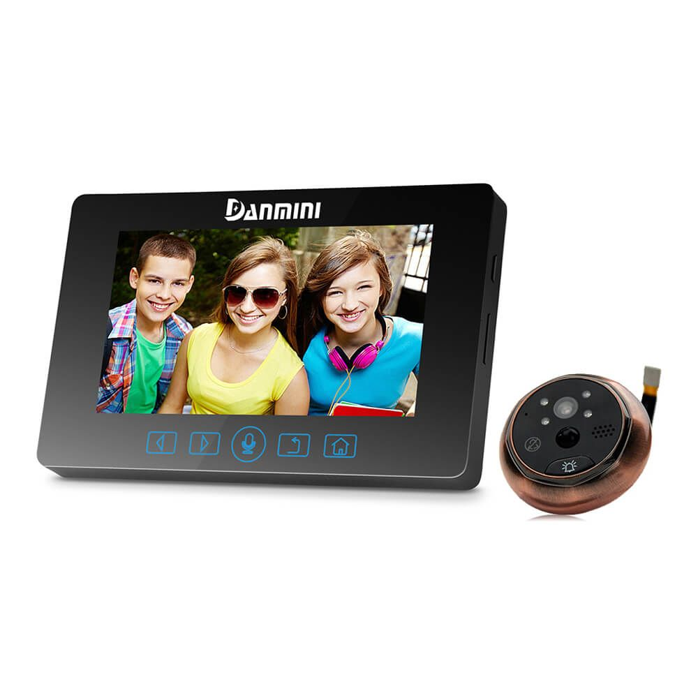 Danmini YB-43HD-MT Digital Peephole Viewer Camera 2MP 4.3 inch IR Night Vision Video Door Bell With PIR Motion Detection
