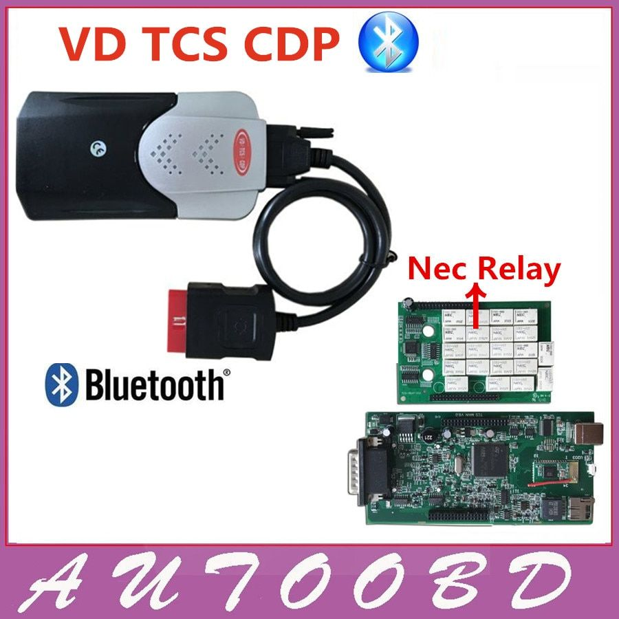 New VCI 2015.R3Keygen activator Black Color VD TCS CDP Pro with Green Board PCB NEC Relay for Cars/Truck OBD2 CDP with Bluetooth
