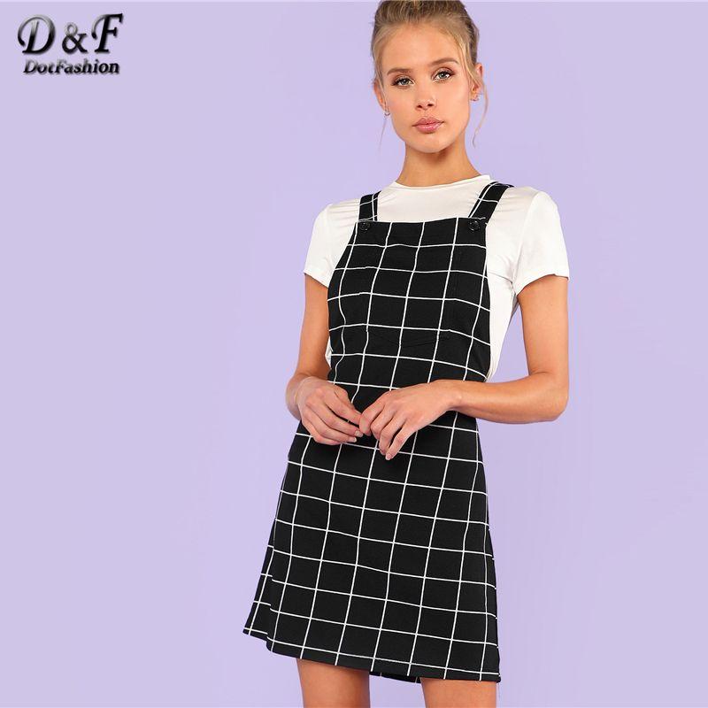 Dotfashion Bib Pocket Front Grid Pinafore Dress 2019 Summer Sleeveless Preppy Dress Women Black Straps Short Straight Dress