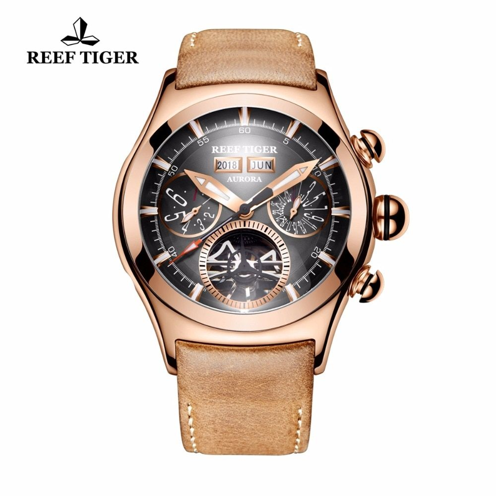Reef Tiger/RT Luxury Brand Sport Watches Genuine Leather Strap Rose Gold Tourbillon Automatic Watches for Men RGA7503