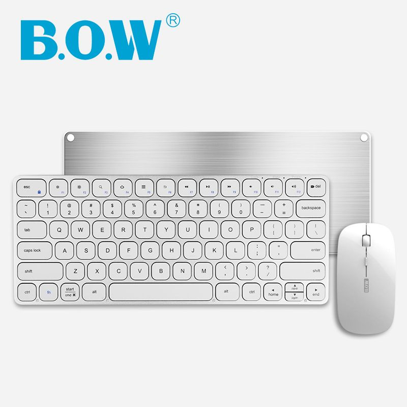 B.O.W 2.4 G( (whisper-quiet)) Keyboard and Mouse Combo, Metal Slim Wireless Keyboard and Optical Mouse for Desktop, Laptop,