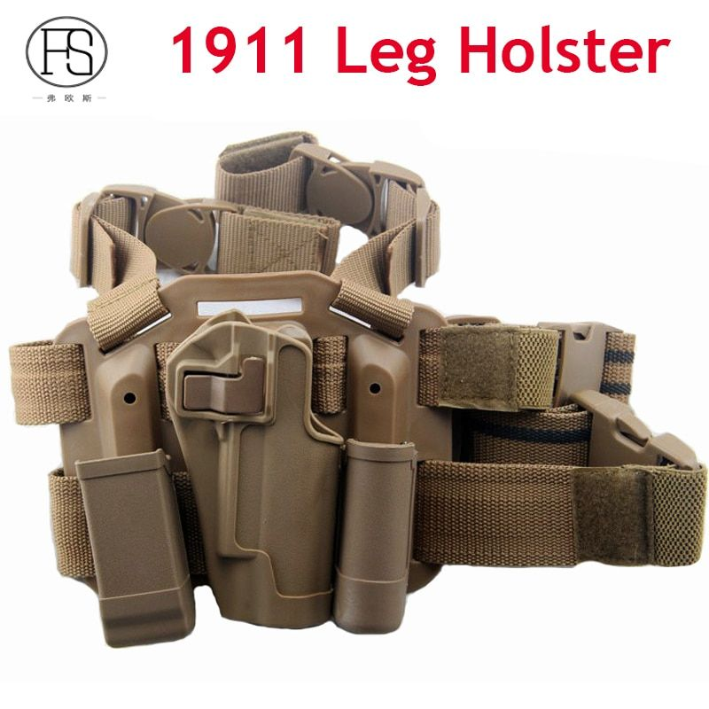 Tactical Colt 1911 Holster Hand Gun  Coldre Pistola 1911 Hunting Gun Leg Holster With Magazine Pouch And Flashlight Pouch