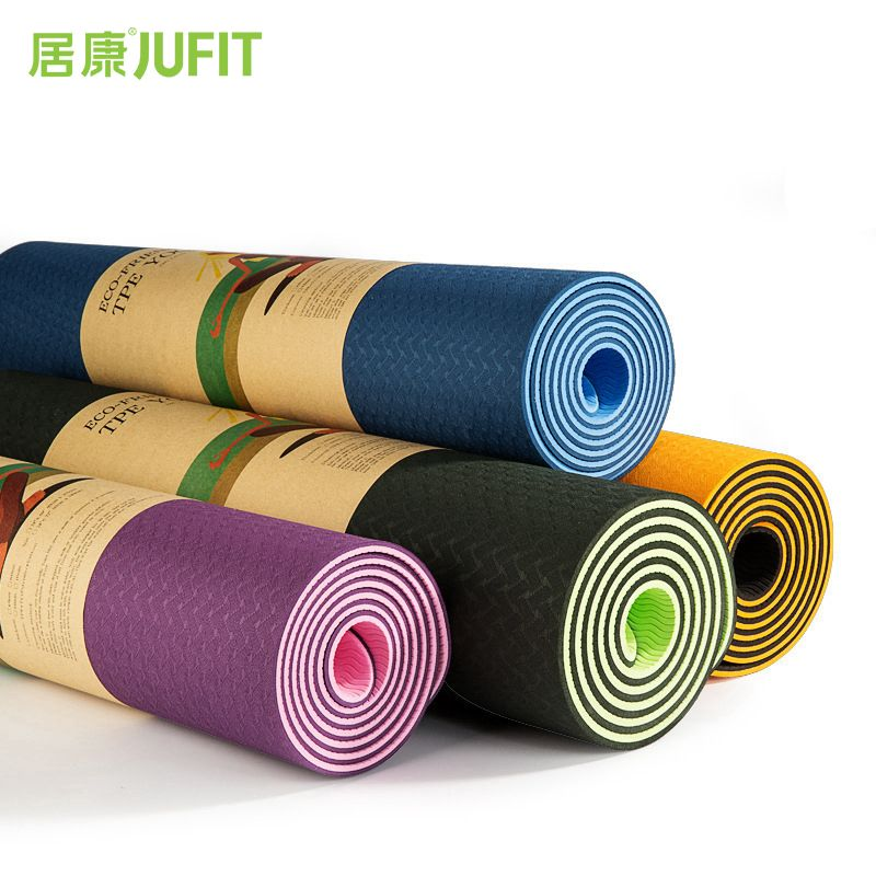 JUFIT 1830*610*6MM TPE Yoga Mat Double <font><b>Sided</b></font> Color Exercise Sports Mats For Fitness Gym Environmental Tasteless Pad With Rope