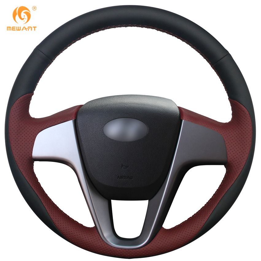 MEWANT Black Wine Red Leather Car Steering Wheel Cover for Hyundai Solaris 2010-2016 Verna 2010-2016 i20 2009-2015 Accent