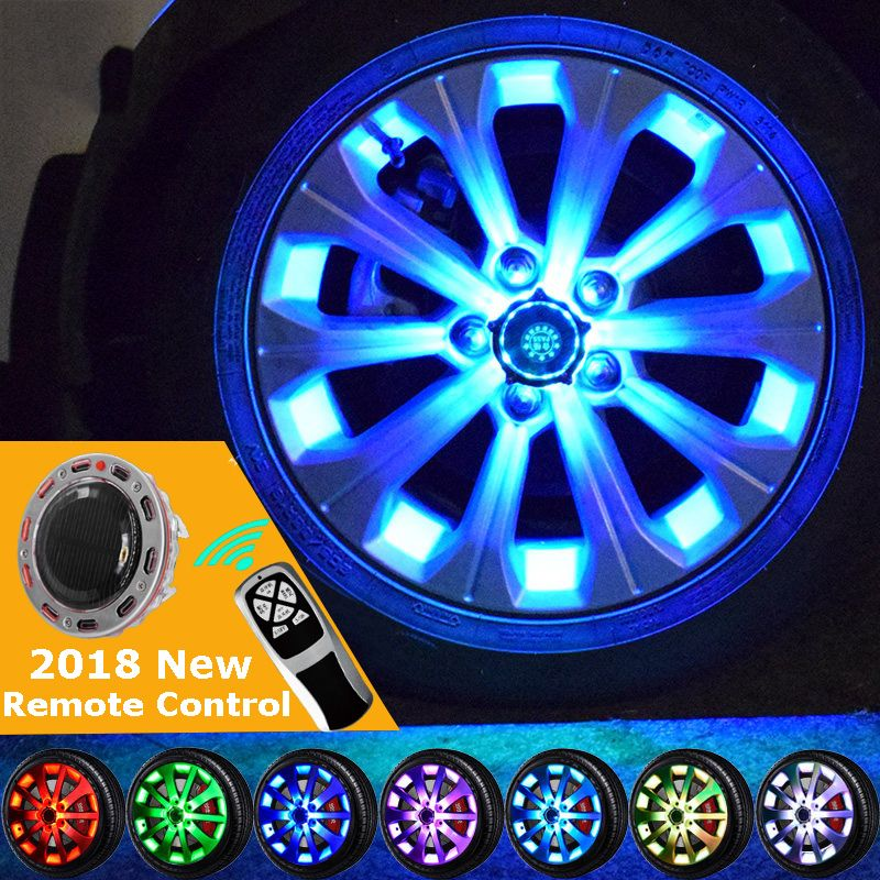 Remote 10/24LED Flash Solar Light RGB LED Lamp Car Styling Refitting Wheel Hub Cap Rim Cool Decoration for BMW Benz Audi Toyoto