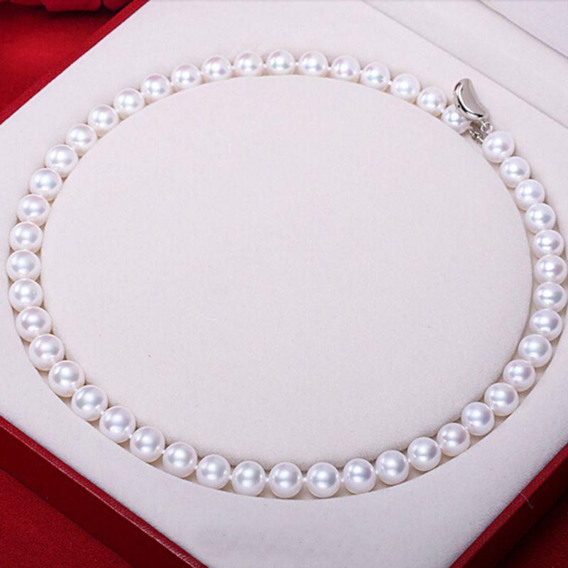 Sinya AAA grade süßwasser Runde perle perlen halskette 18 zoll 46 cm 7-10mm große perle nobel schmuck hohe glanz für frauen