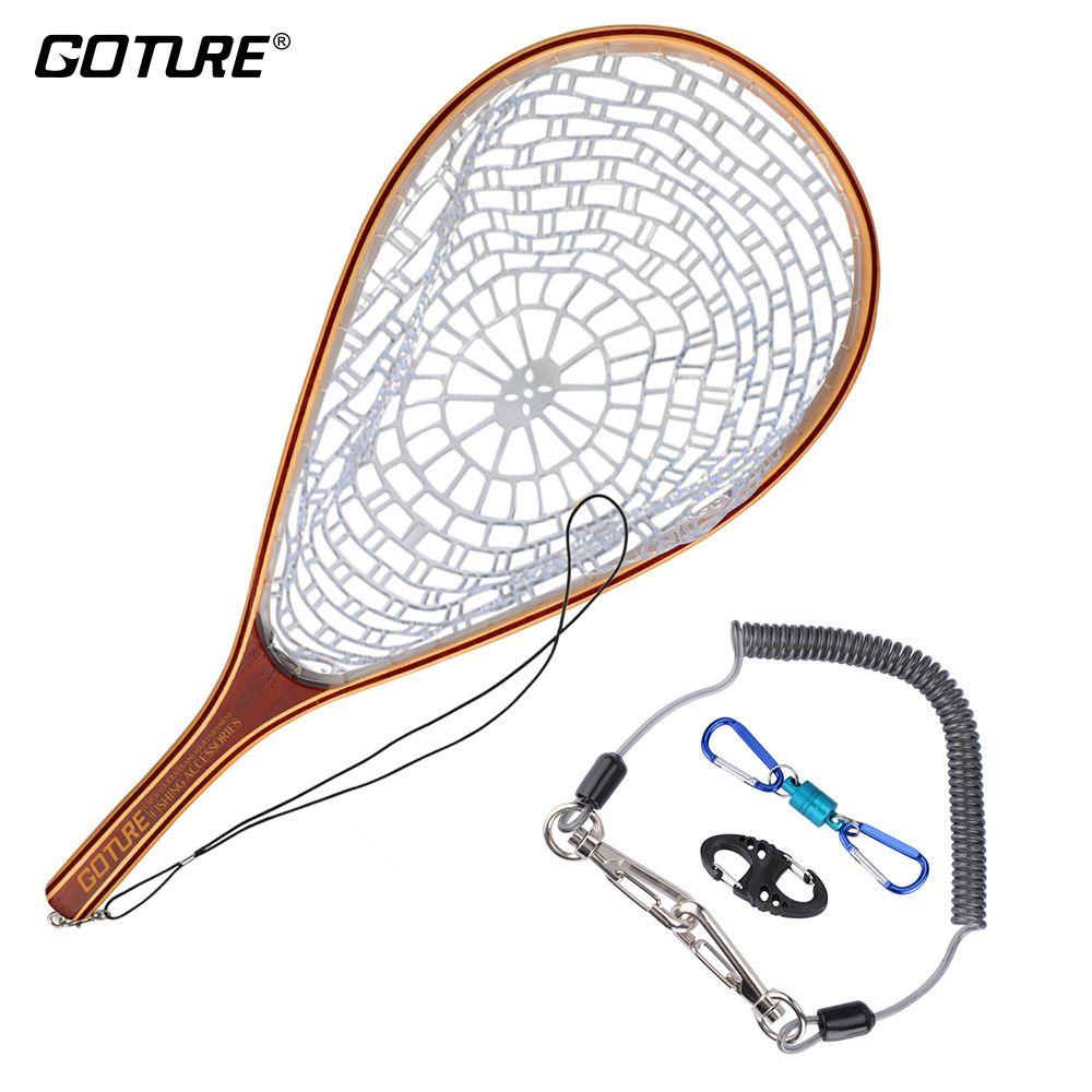 Goture Fliegen Fischernetz Casting Netzwerk Rubber Mesh Holz Rahmen Hand Net mit Lanyard Seil Magnetische Schnalle Angelgerät