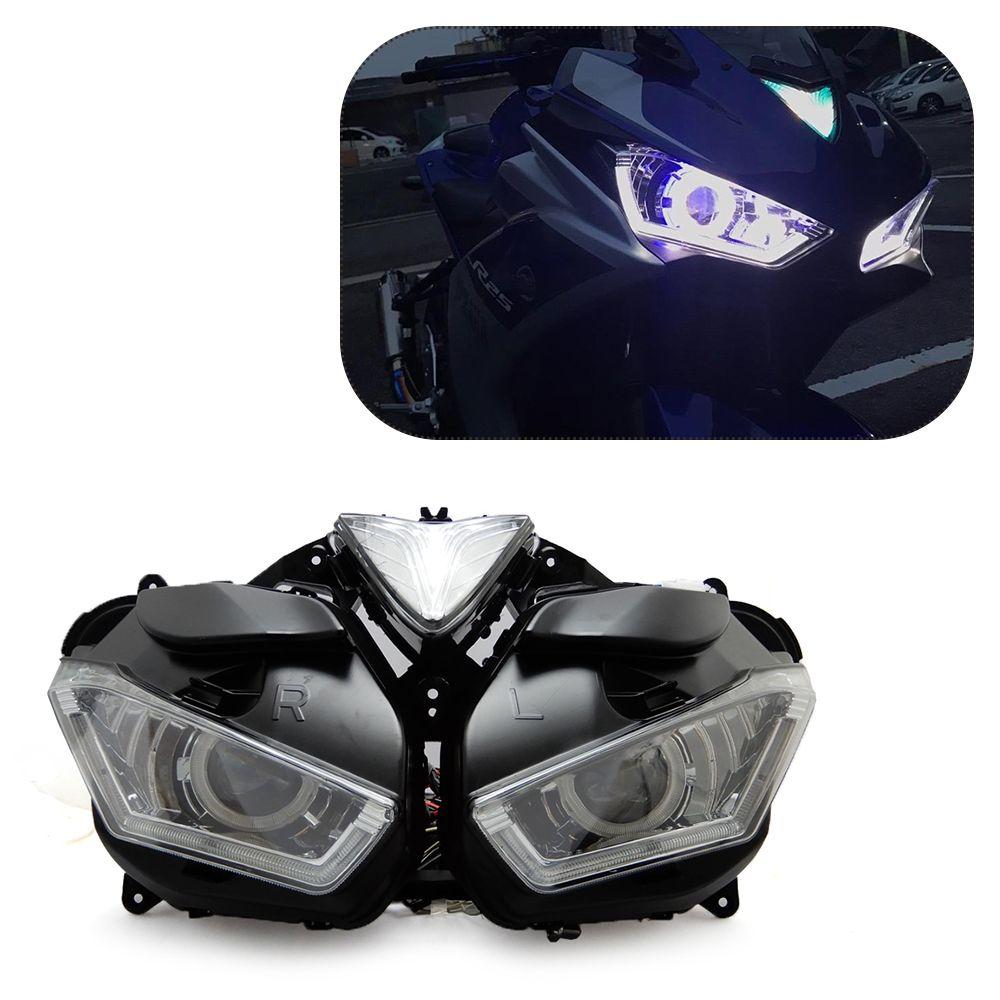 KEMiMOTO Für YAMAHA YZF R25 R3 2013-2017 Motorrad Scheinwerfer Engel Dämon Eye HID Projektor Scheinwerfer R25 R3 HID engel Auge