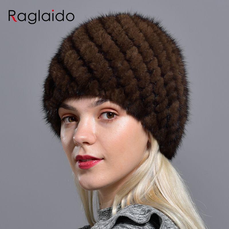 Raglaido tricoté vison fourrure chapeaux pour femmes véritable naturel fourrure ananas Cap hiver neige Beanie chapeaux russe réel fourrure chapeau LQ11191