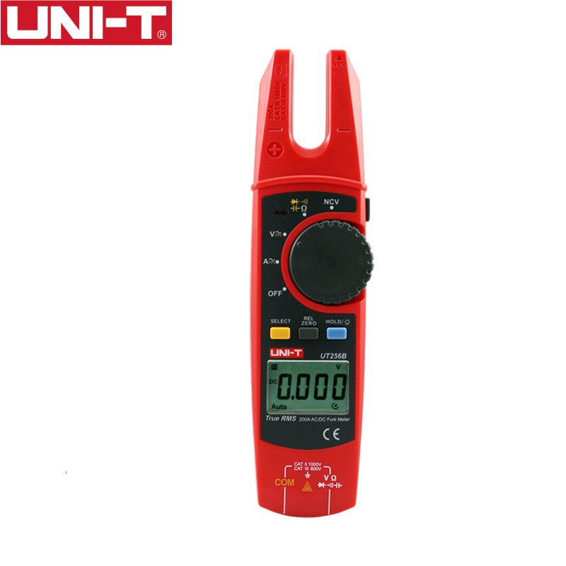 UNI-T UT256B Digital True RMS Fork Auto Multimeter 200A AC DC Current Clamp Meters NCV Tester Voltmeter Ohm Cap Auto Range More
