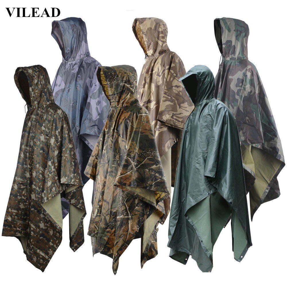 VILEAD Multifunctional Military Impermeable Camo Raincoat Waterproof Rain Coat Men Women Camping Fishing <font><b>Motorcycle</b></font> Rain Poncho