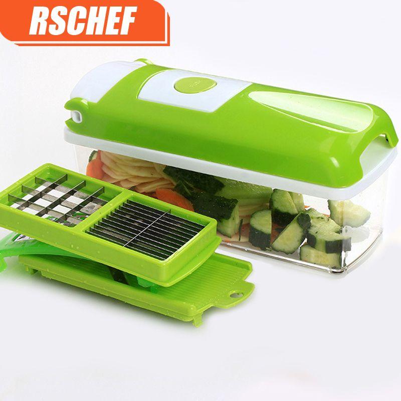 RSCHEF 12 Pcs Multifunctional Shredder Fruit Vegetable Peeler Potatoes Slicer Dicer Chopper Cutter Container Easy Kitchen Tools