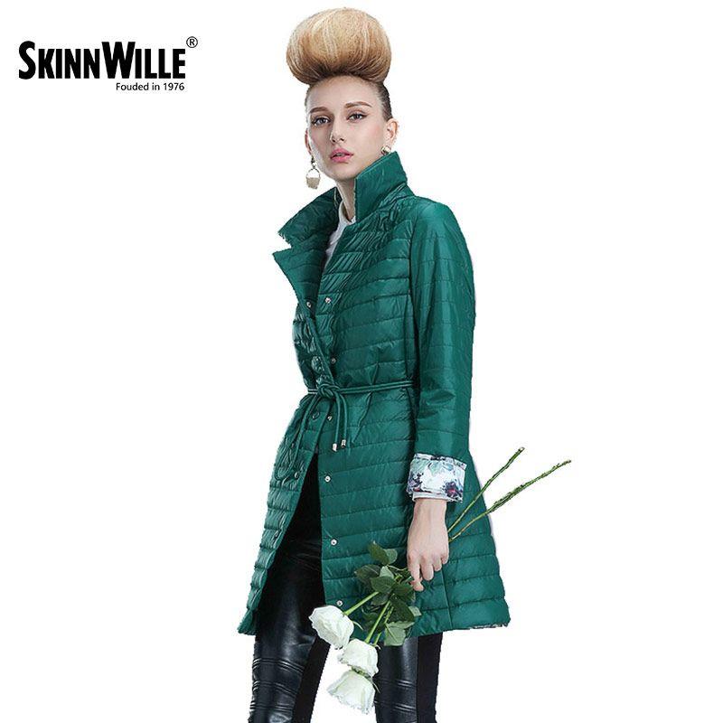 Skinnwille 2017 Женская куртка пуховик тонкий женский легкое удобное женское пальто хлопок женские ветровки на раней осень весна качество фабричн...