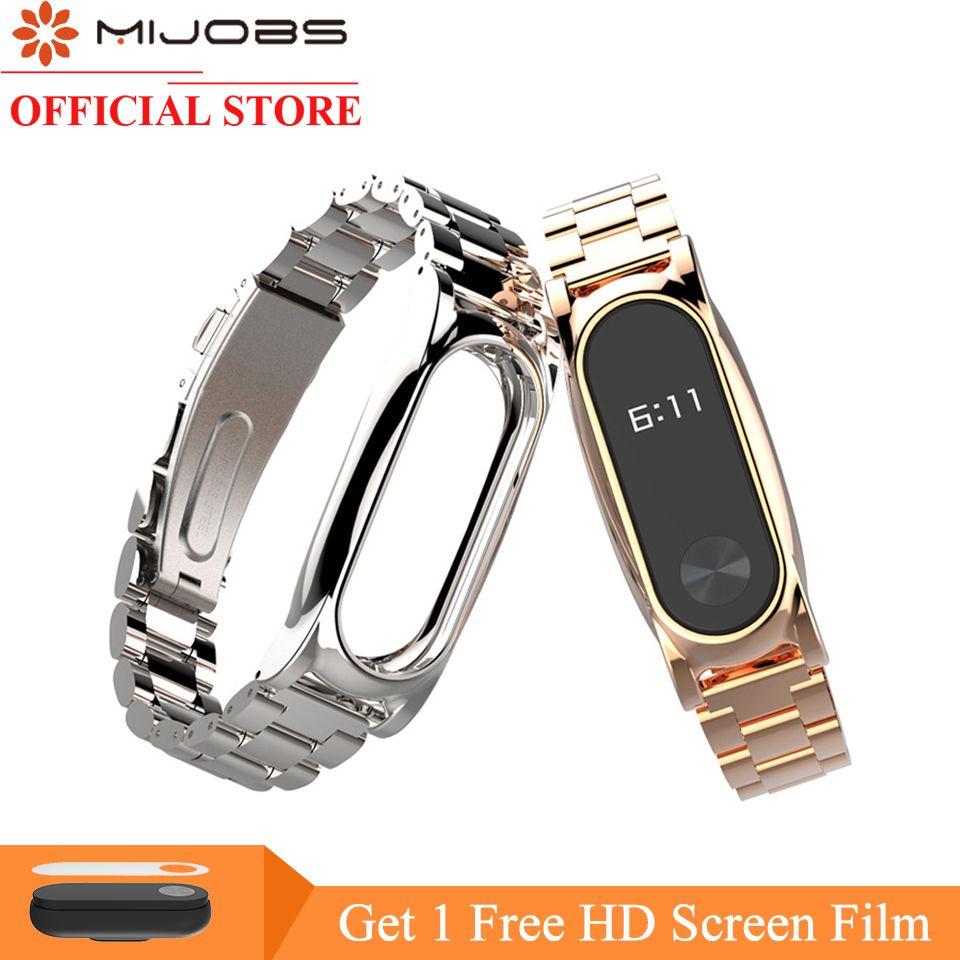 Mijobs Bracelet En Métal Pour Xiaomi Mi Bande 2 Sangle Sans Vis En Acier inoxydable Bracelet Montre Smart Watch Remplacer Accessoires Pour Mi Bande 2