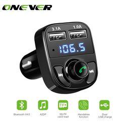 Fm Transmitter Bluetooth Mobil Kit MP3 Pemain LED Dual USB 4.1A Charger Mobil Tampilan Tegangan Micro Sd Tf Bermain Musik